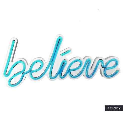 neon na ścianę letely z napisem believe niebieski marki Selsey