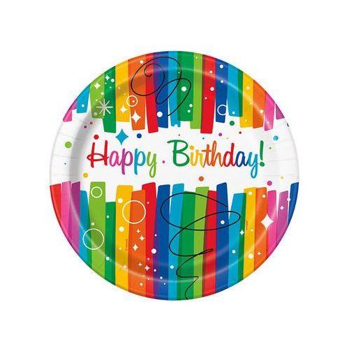 Talerzyki urodzinowe rainbow happy birthday - 23 cm - 8 szt. marki Unique