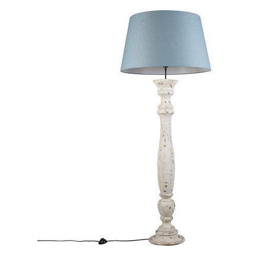 Lampa podlogowa ritual biala z niebieskim kloszem 70cm marki Qazqa