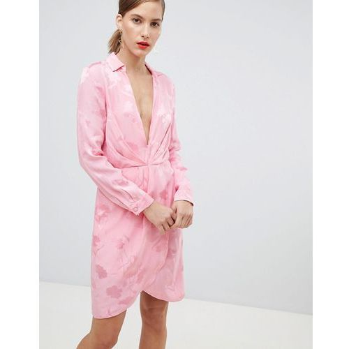 dress with plunge neck line in floral jacquard print - pink, River island