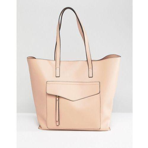 New Look Minimal Pocket Shopper Bag - Beige