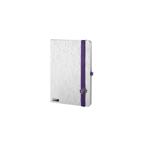 Notes a6 lanybook innocent passion white w kratkę z fioletową gumką od producenta Lediberg