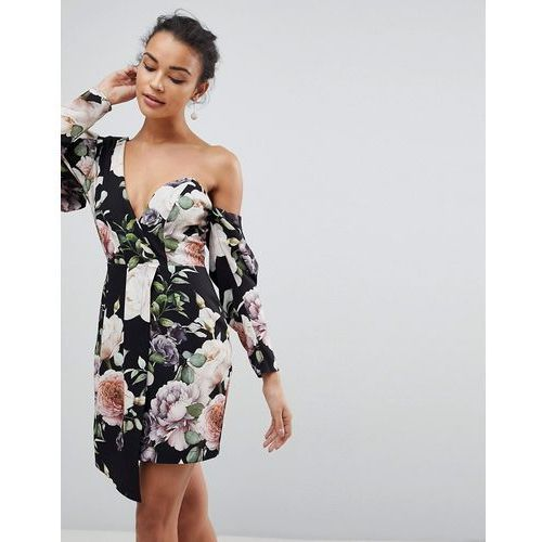 Asos cocktail mini dress in dark floral print - multi, Asos design