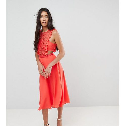 lace pinafore pleated midi dress - red marki Asos tall