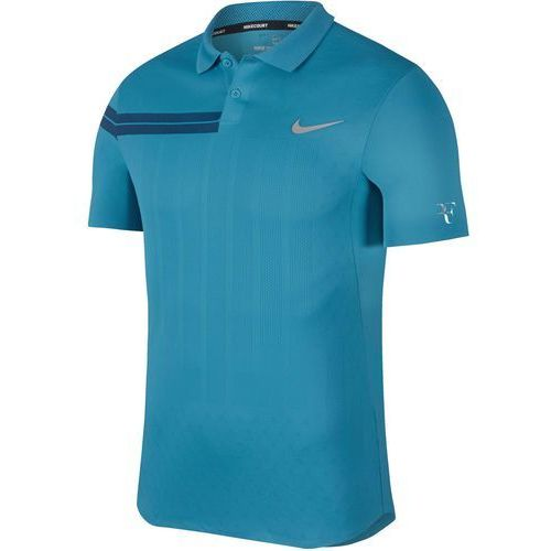 Nike męska koszulka sportowa z kołnierzem rf m nkct adv polo ps neo turq metallic silver s