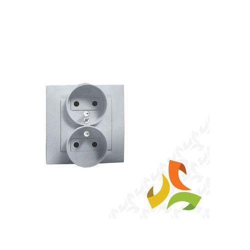 Gniazdo podwójne z/u z przesłonami torów prądowych 16A, 250V, zaciski śrubowe , aluminium metalik Kompletne -nie do ramek 1591451-026 SIMON 15, 1591451-026/KON