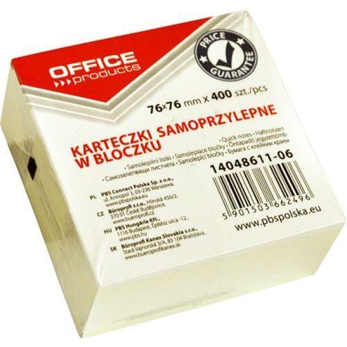 Kostka samoprzylepna OFFICE PRODUCTS, 76x76mm, 1x400 kart., pastel, jasnożółty, 14048611-06