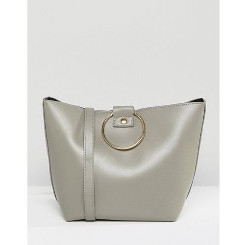 Pieces Bucket Bag With Ring Handles - Grey, kolor szary