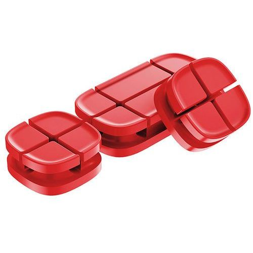 Baseus organizer do kabli Cross Peas Cable Clip czerwony - Czerwony (6953156261402)