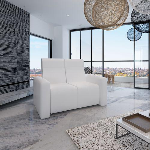 Vidaxl  domowa sofa kinowa i tv rozkładana dwuosobowa biała (8718475867791)