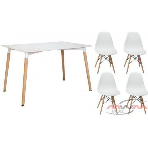 Meblemwm Zestaw stół skandynawski em10 + 4 krzesła em03