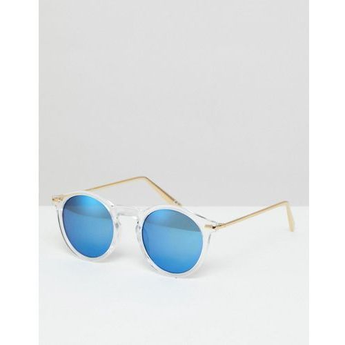 Asos round sunglasses with metal arms in crystal with blue flash lens - clear