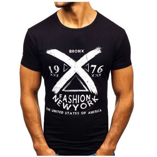 T-shirt męski z nadrukiem czarny Denley KY16, kolor czarny