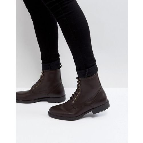 ASOS Lace Up Worker Boots In Brown Faux Scotchgrain Leather - Brown