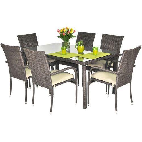 Edomator.pl Meble ogrodowe z technorattanu malaga stół i 6 krzeseł - brązowe