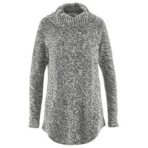 Sweter poncho, długi rękaw antracytowy melanż, Bonprix, 36-58