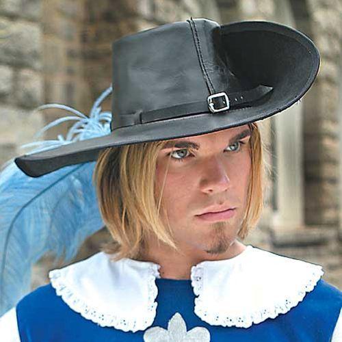Skórzany kapelusz muszkieterów czarny (ws200552), Płatnerze