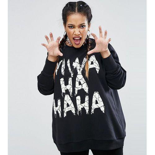Asos curve halloween sweatshirt with glow in the dark evil laugh print - black