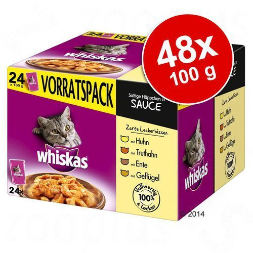 Whiskas  adult, 24 x 100 g - wybór dań drobiowych w galarecie (4008429014086)