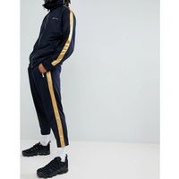 Mennace skinny jogger in navy with gold side stripe - navy