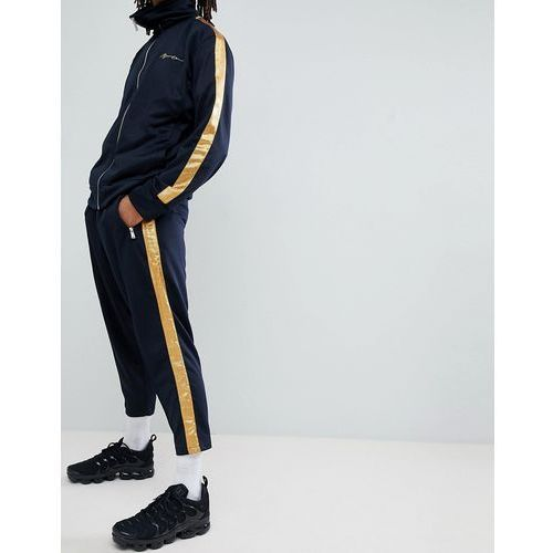 skinny jogger in navy with gold side stripe - navy, Mennace, L-XL