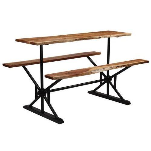 Stół barowy z ławkami, lite drewno akacjowe, 180x50x107 cm marki Vidaxl