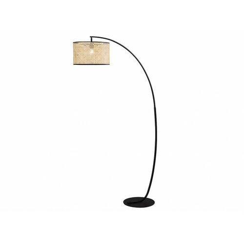 Łukowa lampa podłogowa NEIROBI z plecionym abażurem – styl etniczny – żelazo i rattan – 105 × 40 × 195 cm – kolor czarny i naturalny