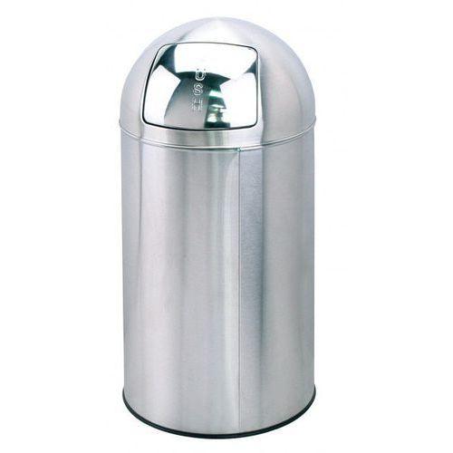 Kosz na odpady z pokrywą typu PUSH - stal nierdzewna - wys. 76 cm