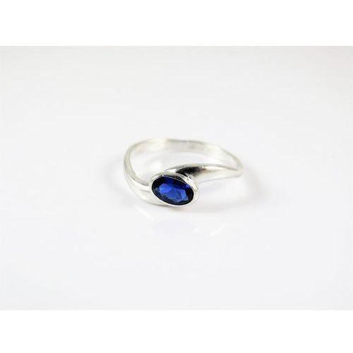 Srebrny pierścionek 925 NIEBIESKIE OCZKO r. 13, kolor niebieski