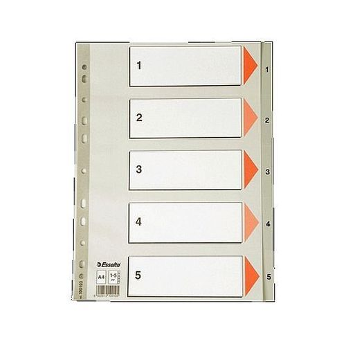 Przekładki plastikowe szare a4 1-6 100104 marki Esselte