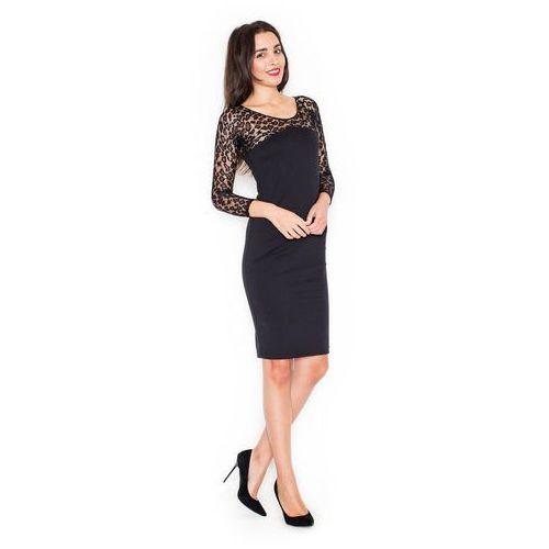 Czarna Elegancka Ołówkowa Sukienka z Koronkowym Długim Rękawem, w 4 rozmiarach