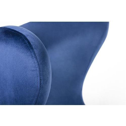 Fotel EGG SZEROKI VELVET z podnóżkiem ciemny niebieski.49 - welur, podstawa stal, kolor niebieski