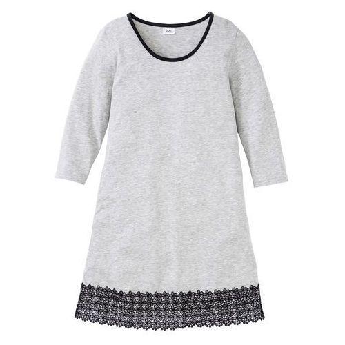 Bonprix Koszula nocna z koronką jasnoszary melanż - czarny