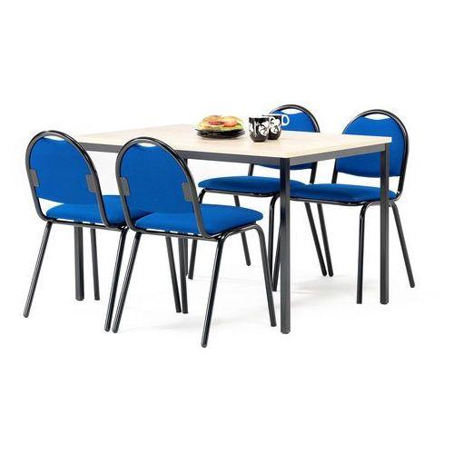 Zestaw mebli do stołówki, stół 1200x800 mm, brzoza + 4 krzesła, niebieski/czarny marki Aj produkty