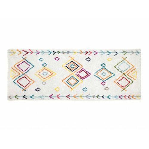 Chodnik ANGKOR w stylu berberyjskim – 80 × 200 cm – kolor beżowy z wielokolorowym motywem