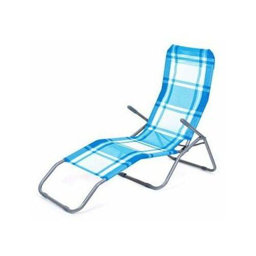 Happy green leżak plażowy w kratkę - niebieski/biały