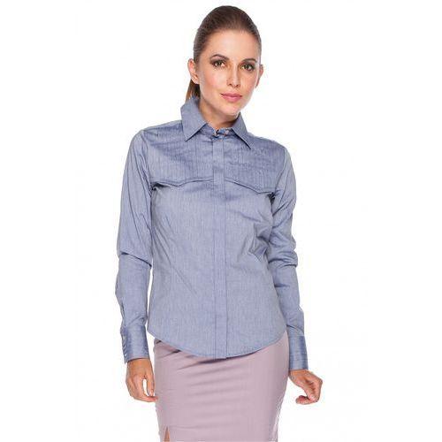 Fioletowa koszula z pionowymi zakładkami - Duet Woman, kolor fioletowy