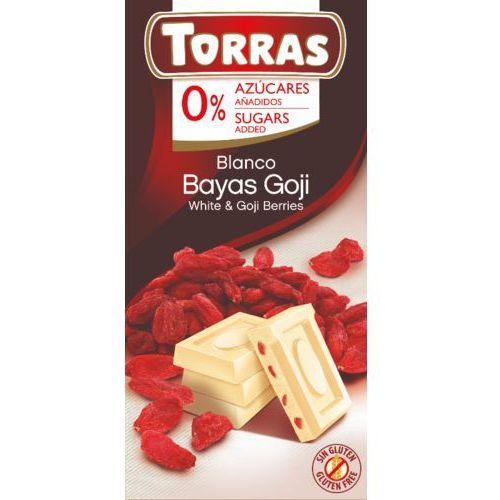 Czekolada biała z jagodami goji bez cukru, bezglutenowa 75g marki Torras