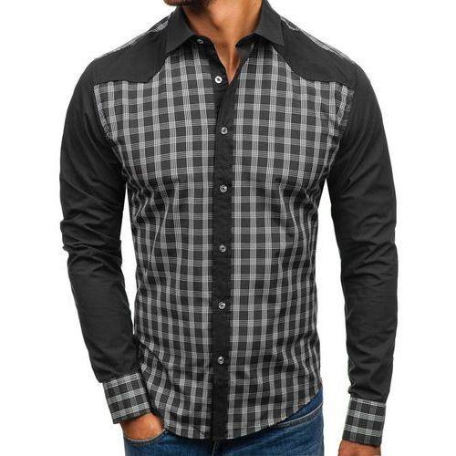 Koszula męska w kratę z długim rękawem czarna Bolf 8804, kolor czarny