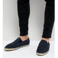wide fit slip on espadrilles in navy suede - navy marki Frank wright