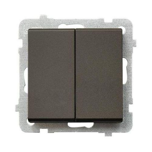 Łącznik schodowy Ospel Sonata ŁP-10R/M/40 podwójny 16AX IP20 czekoladowy metalik