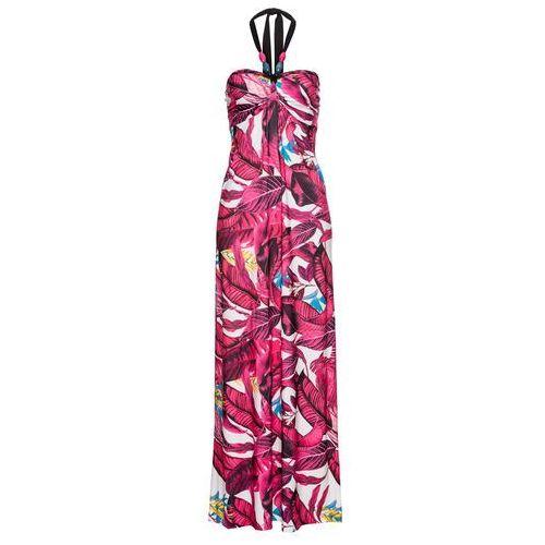 Sukienka bonprix czarno-beżowy, kolor różowy