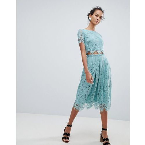 New look lace co-ord midi skirt - green