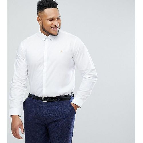 Farah handford slim fit smart poplin shirt in white - white