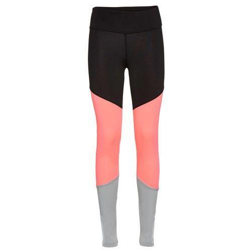 Legginsy sportowe, długie  czarno-łososiowy neonowy - srebrnoszary marki Bonprix