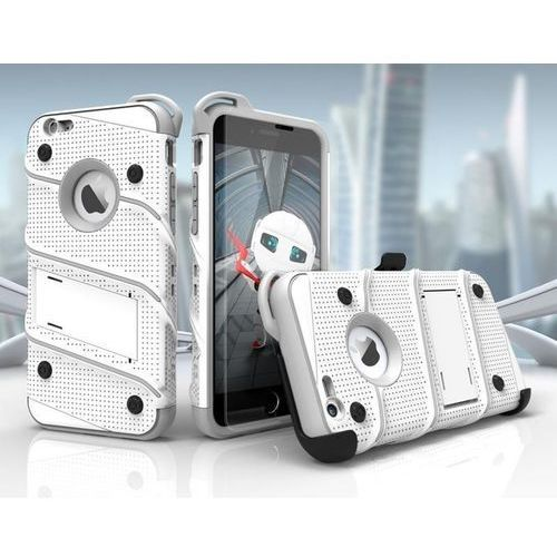 Zizo Bolt Cover - Pancerne etui iPhone 6s Plus / iPhone 6 Plus + szkło 9H na ekran (biały/szary), 1BOLT-IPH6SPLUS-WHGR