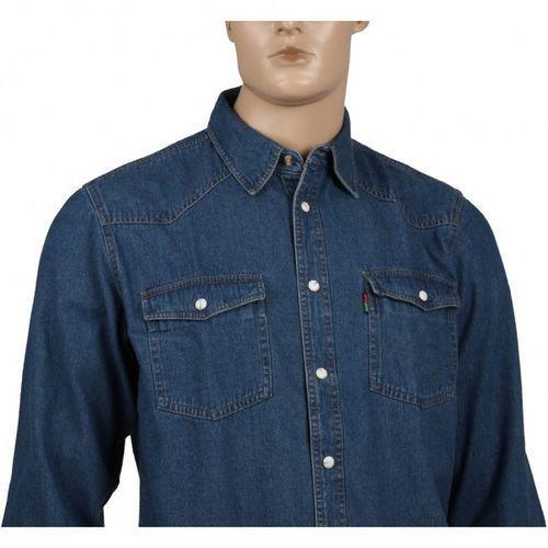 Gruba koszula jeansowa DUKE W KOLORZE NIEBIESKIM ZAPINANA NA NAPY, bawełna