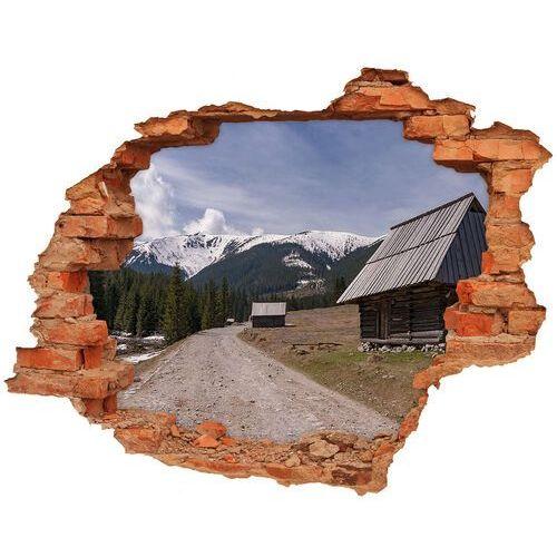 Dziura 3d w ścianie naklejka Domek w górach