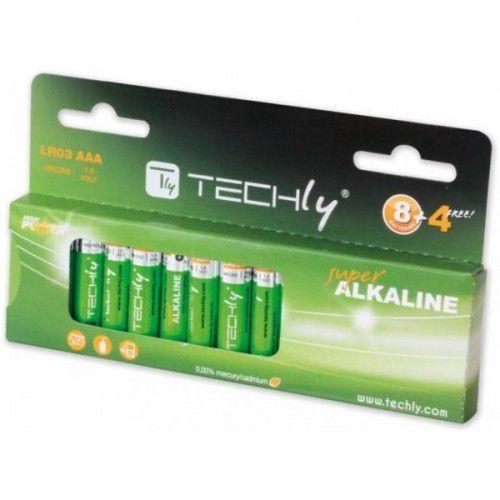 Techly Baterie alkaliczne 1.5V AAA LR03, 12 sztuk (307018) Darmowy odbiór w 21 miastach!