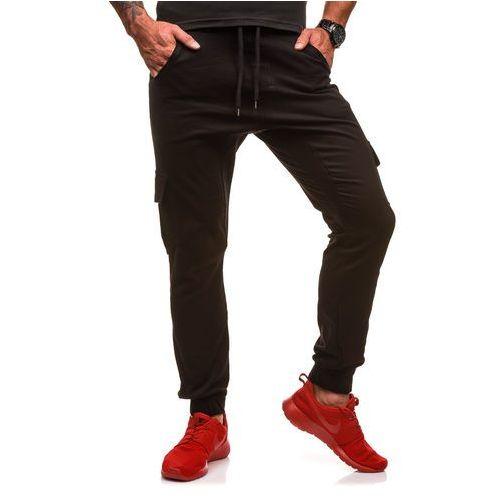 Spodnie joggery bojówki męskie czarne Denley 0404gbr, kolor czarny